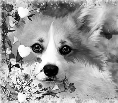 Dog In Landscape Photograph - Fluffy Corgi In Flowers by Kathy Kelly