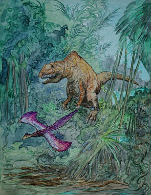 Triassic Painting - Flush And Follow by Dennis Naumick