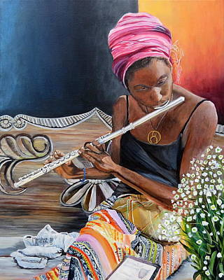 Flute Player Original by Marilyn  McNish