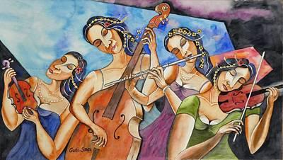 Watercolor Figure Painting - Flute Quartet by Guri Stark