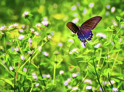 Fluttering Digital Art - Fluttering Swallowtail  by Steve Harrington