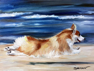 Puppy Painting - Fly Away by Mary Sparrow