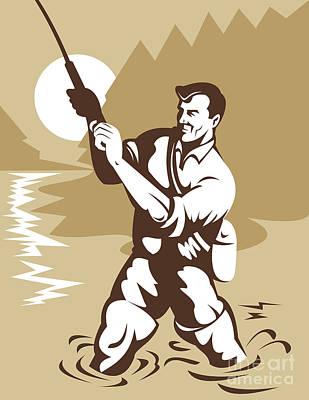 Fly Fisherman Casting Print by Aloysius Patrimonio