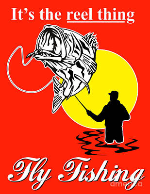 Fly Fisherman Catching Largemouth Bass Print by Aloysius Patrimonio