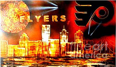 Philadelphia Skyline Painting - Flyers by Devon Reiffer