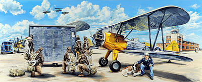 Aviator Print featuring the painting Flyers In The Heartland by Charles Taylor