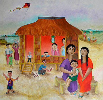 Bamboo House Painting - Flying A Kite With James  by Miriam Besa