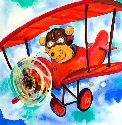 Scott Nelson And Son Painting - Flying Bear by Scott Nelson