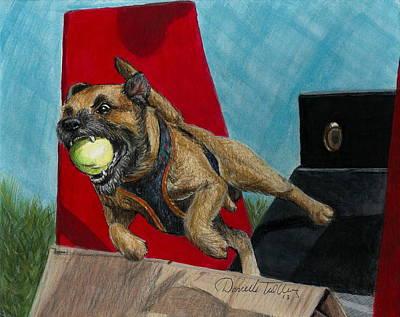 Puppy Mixed Media - Flying Dog by Daniele Trottier