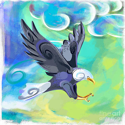 Soaring Mixed Media - Flying Eagle by Bedros Awak