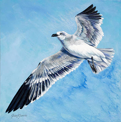 Flying Seagull Painting - Flying Gull by Joan Garcia