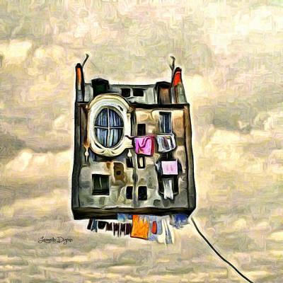 Money Painting - Flying House by Leonardo Digenio