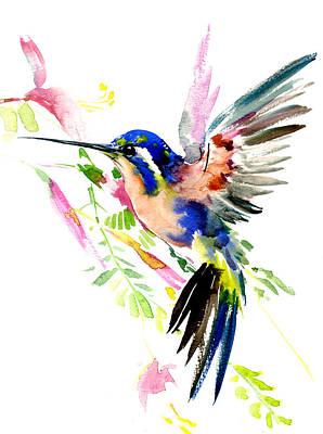 Hummingbird Drawing - Flying Hummingbird Ltramarine Blue Peach Colors by Suren Nersisyan