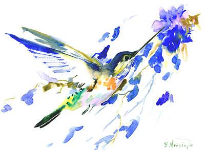 Hummingbird Drawing - Flying Hummingbird by Suren Nersisyan