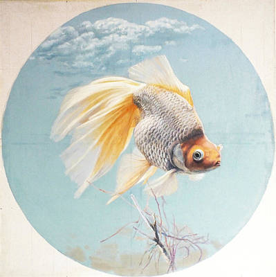 Flying In The Clouds Of Goldfish Print by Chen Baoyi