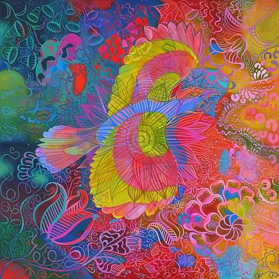 Flying Indian Roller Bird Print by Jane Tattersfield