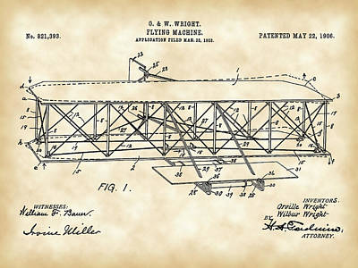 Old Blueprint Digital Art - Flying Machine Patent 1903 - Vintage by Stephen Younts