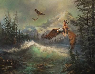 Flying On Eagles Print by Tom Shropshire