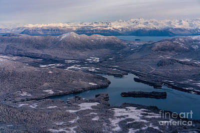 Flying Over Southeast Alaska Print by Mike Reid