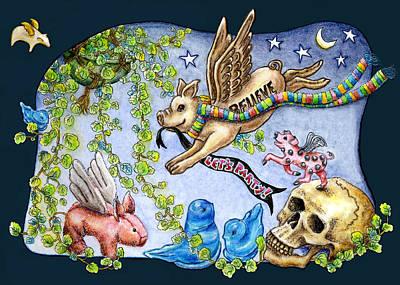Flying Pig Party 2 Print by Retta Stephenson
