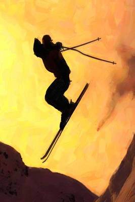 Snowboarder Painting - Flying Snowboarder On Mountains by Lanjee Chee