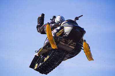Snowmobile Photograph - Flying Snowmobile by Mircea Costina Photography
