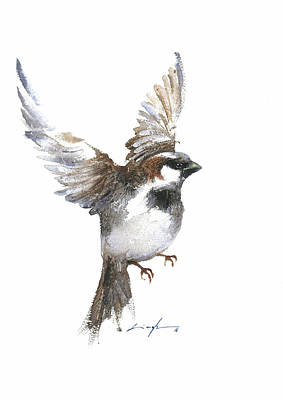 Flying Sparrow Watercolor Print by Nitin Singh