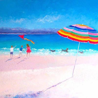 Kids Flying Kite Painting - Flying The Kite by Jan Matson