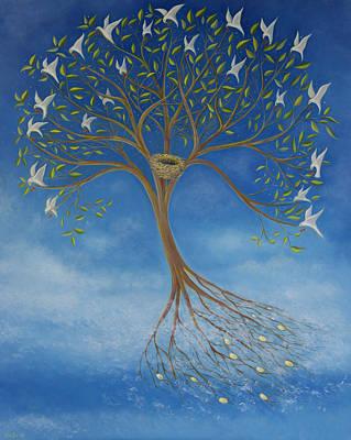 Tree Roots Painting - Flying Tree by Tone Aanderaa