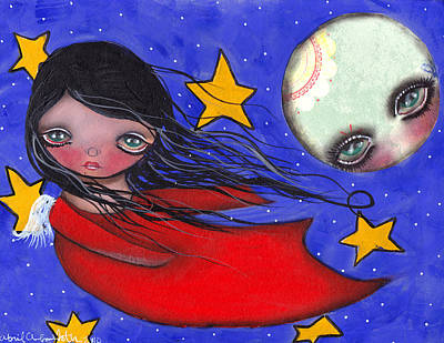 Flying With The Moon Print by  Abril Andrade Griffith