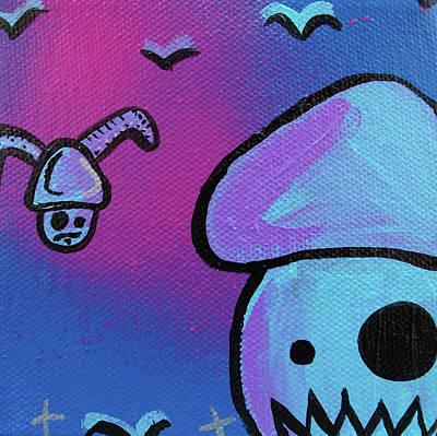 Flying Zombie Mushroom Attack Print by Jera Sky