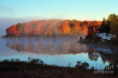 Lakes Photograph - Foggy Autumn At Stoneledge Lake by Terri Gostola