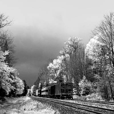 Train Photograph - Foggy Day On The Rails by David Patterson