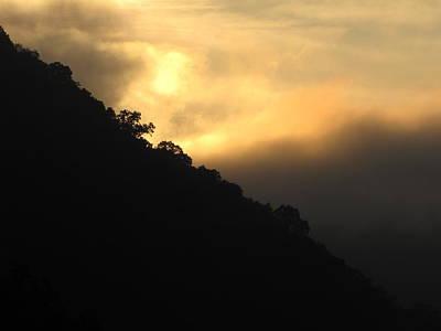 Foggy Mountain Sunrise Print by Shane Brumfield