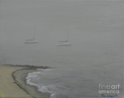 Boat On Beach Painting - Foggy Shore by Paul Walsh