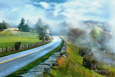 Foggy Spring Morning In Doughton Blue Ridge Parkway Ap Print by Dan Carmichael