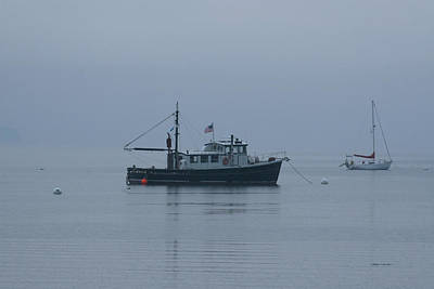 Foggy Start To The Day Penobscot Bay Maine Print by Brian M Lumley