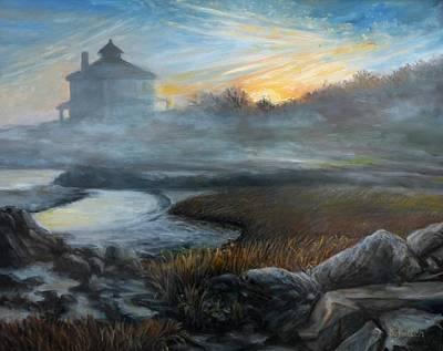 Foggy Sunrise Good Harbor Beach Original by Eileen Patten Oliver