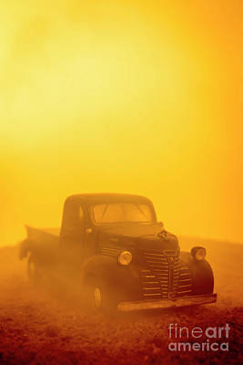 Photograph - Foggy Sunrise Old Truck by Edward Fielding
