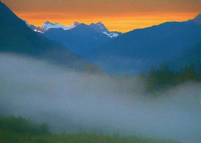 Mountain Mixed Media - Foggy Sunrise Over The North Cascades by Dan Sproul