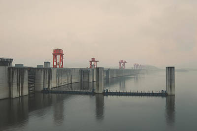 Foggy Three Gorges Dam Print by Bekare Creative