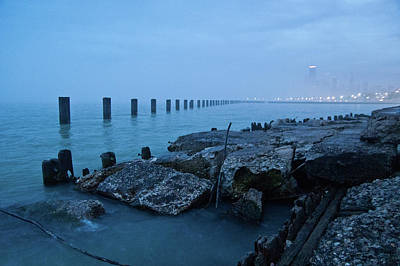 Urban Scenes Photograph - Foggy View Of Chicago From Lakeshore by Megan Ahrens
