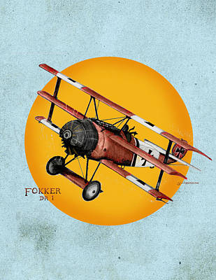 Fokker In The Sun 1918 Original by Larry Scarborough