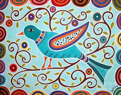 Modern Art Painting - Folk Bird by Karla Gerard