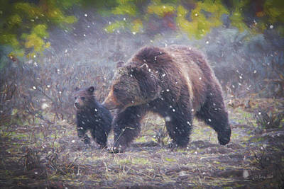Yellowstone Digital Art - Follow Me Mom by Gerry Sibell