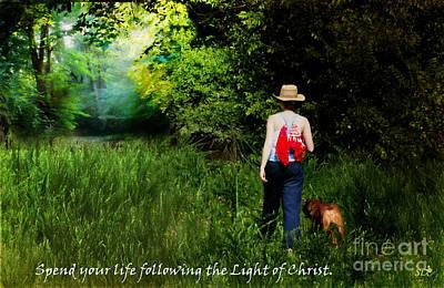 Companion Digital Art - Following The Light Of Christ by Sandra Clark