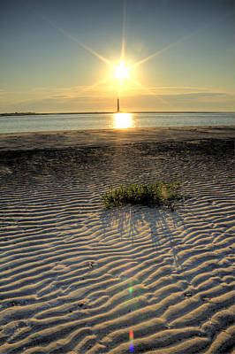 Folly Beach First Light Over The Morris Island Lighthouse Print by Dustin K Ryan