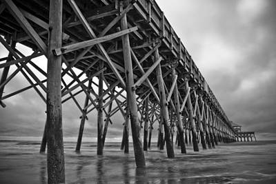 Folly Beach Pier Black And White Print by Dustin K Ryan