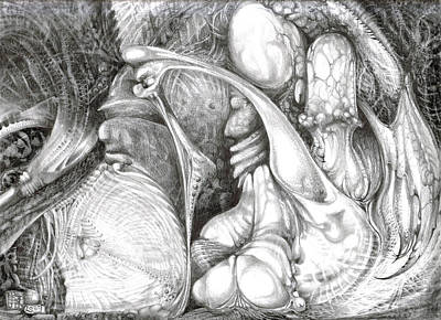 Fantastic Realism Visionary Art Mythology Drawing - Fomorii Interior by Otto Rapp