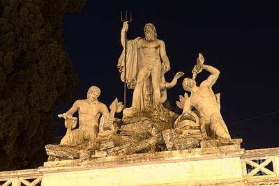 Fontana Del Nettuno In Piazza Del Popolo Print by Fabrizio Ruggeri